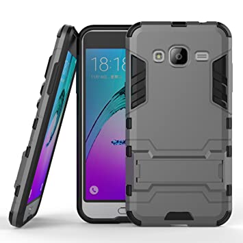 Funda Samsung Galaxy J3 2016, Fundas 2in1 Dual Layer Anti-shock 360° Full Body Protección TPU Silicona Gel Bumper y Duro PC Armadura con Soporte y ...