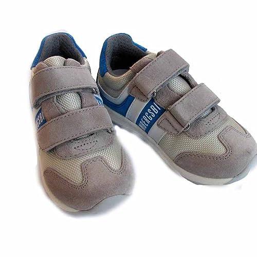 Bikkembergs - Zapatillas de deporte de cuero para niño gris Gris - Grau/Blau 21: Amazon.es: Zapatos y complementos