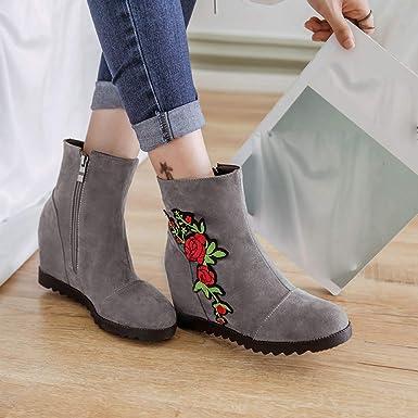 JiaMeng Botines Calentar Pelaje Botas De Nieve Atada Zapatos de Punta Redonda Botas Bordadas Zapatos de Viento Nacional Bota Corta Otoño E Invierno: ...