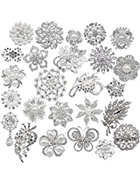 Lot 25pcs Rhinestone brooches, Big Pearl Crystal Wedding Bouquet kit Set