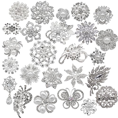 eGlomart Lot 25pcs Rhinestone brooches, Big Pearl Crystal Wedding Bouquet kit Set