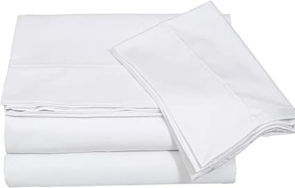 Cotton Sateen Queen Bed Sheet Set White   4 Piece Bedding Set, Flat