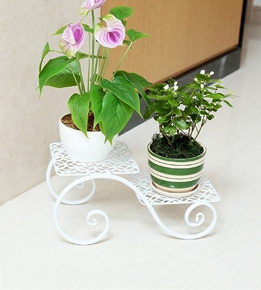 Jardinería-CSQ Soporte de flores de hierro, racks de plantas, 2 ...