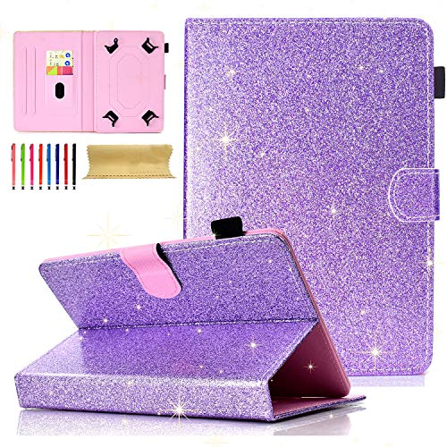 Cookk Universal Folio Case for All 6.5-7.5 inch Tablet, Cookk PU Leather Bling Glitter [Card Slots] Stand Cover for Galaxy Tab 4, Galaxy Tab 3 Lite, Nexus 7, Touch M7, Purple ()