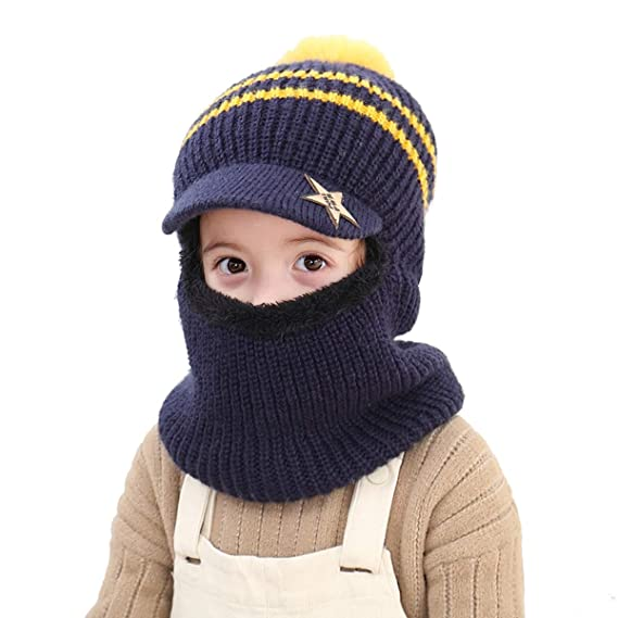 Baby Girls Boys Winter Hat Soft Warm Knitted Thick Scarf Earflap Hood Scarves Caps 2-7 Years Kids Winter Hat Baby Knit Hat