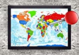 The Explorer 3 World Map - Large Framed Map - Push Pin Map