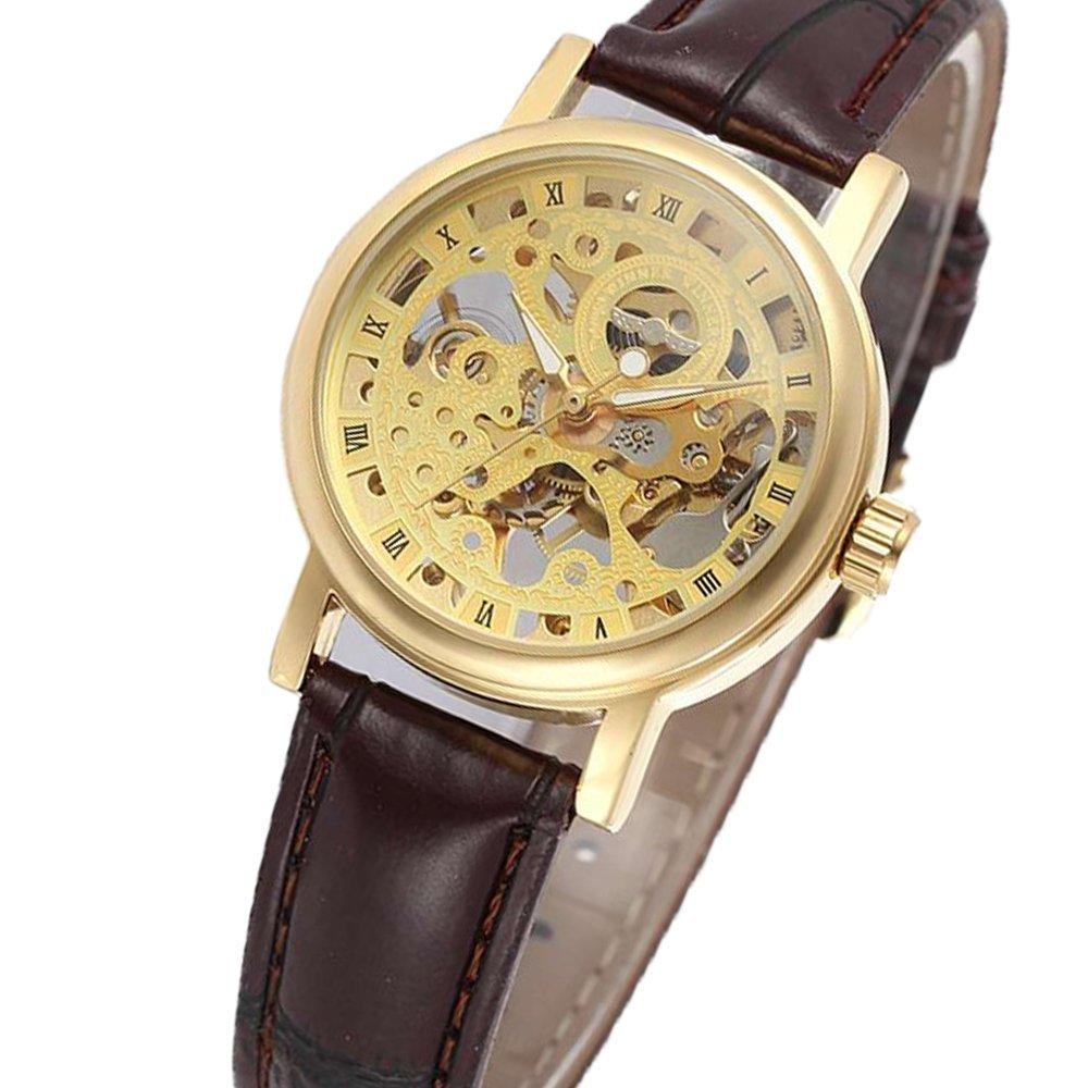 Wristwatches Handwind Skeleton Womens Lady Watch Gold