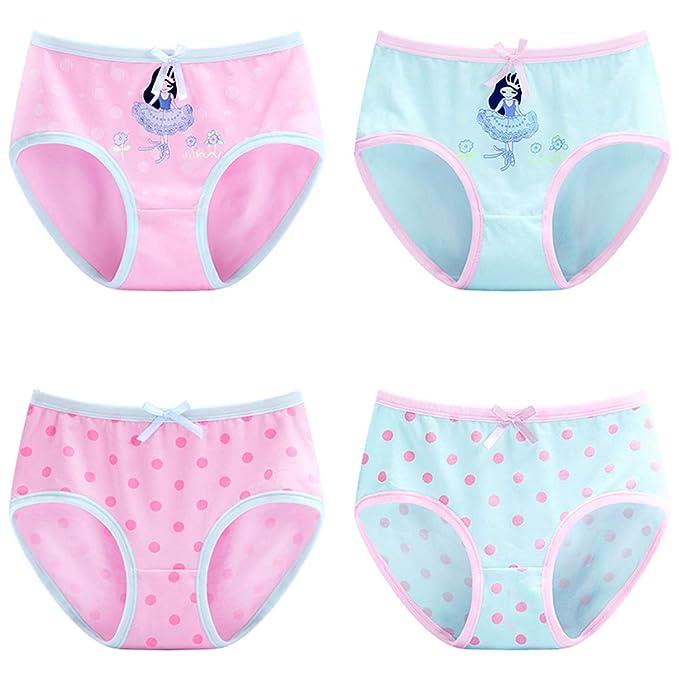 f08db2b3ffd3 Usunny Girls Panties Boxer Briefs Underwear Girls Comfortable Cotton Fabric 4  Pack: Amazon.co.uk: Clothing