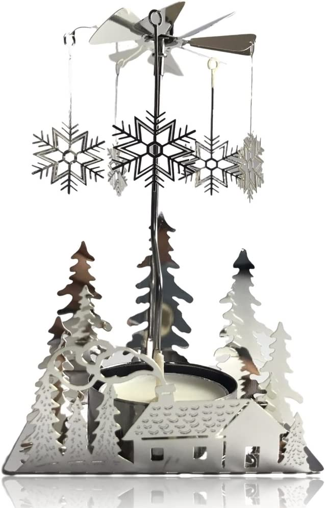 Silver Plated Laser Cut Winter Scene Design with Snowflake Charms Scandinavian Design Tea Light Candle Holder BANBERRY DESIGNS Spinning Winter Candle Holder