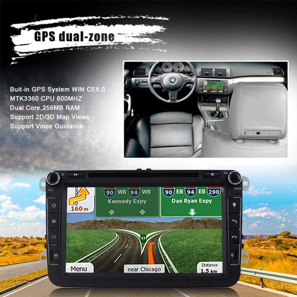Estéreo de coche con Bluetooth, Eunavi Doble 2 Din 8 Pulgadas Car GPS de navegación En Dash Radio Reproductor de DVD Pantalla táctil Unidad de cabeza para ...