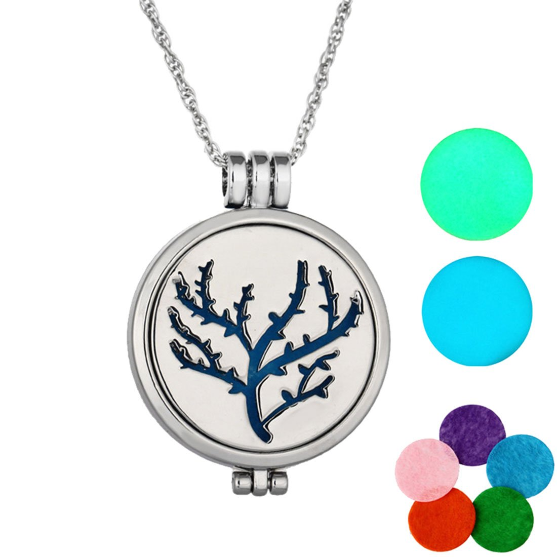 MJARTORIA Tree of Lifeグローin theダークAromatherapy Essential Oil Diffuserロケットペンダントネックレス B06WWGRN3L シルバー
