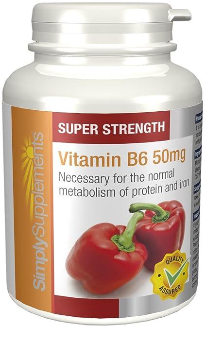 Vitamina B6 50mg - 360 Comprimidos - 1 año de suministro - Piridoxina -Actividad Hormonal