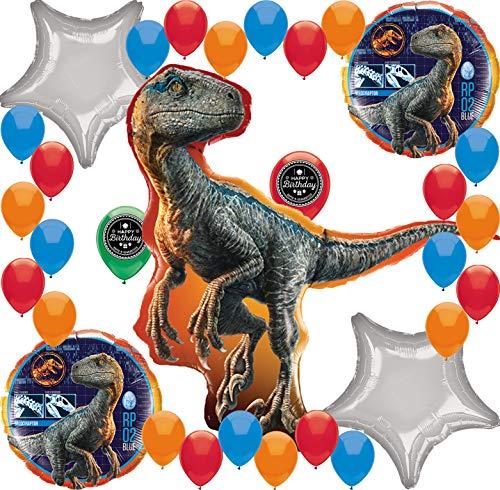 Jurassic World Fallen Kingdom Birthday Party Supplies Balloon Decoration Bundle (Deluxe Raptor -