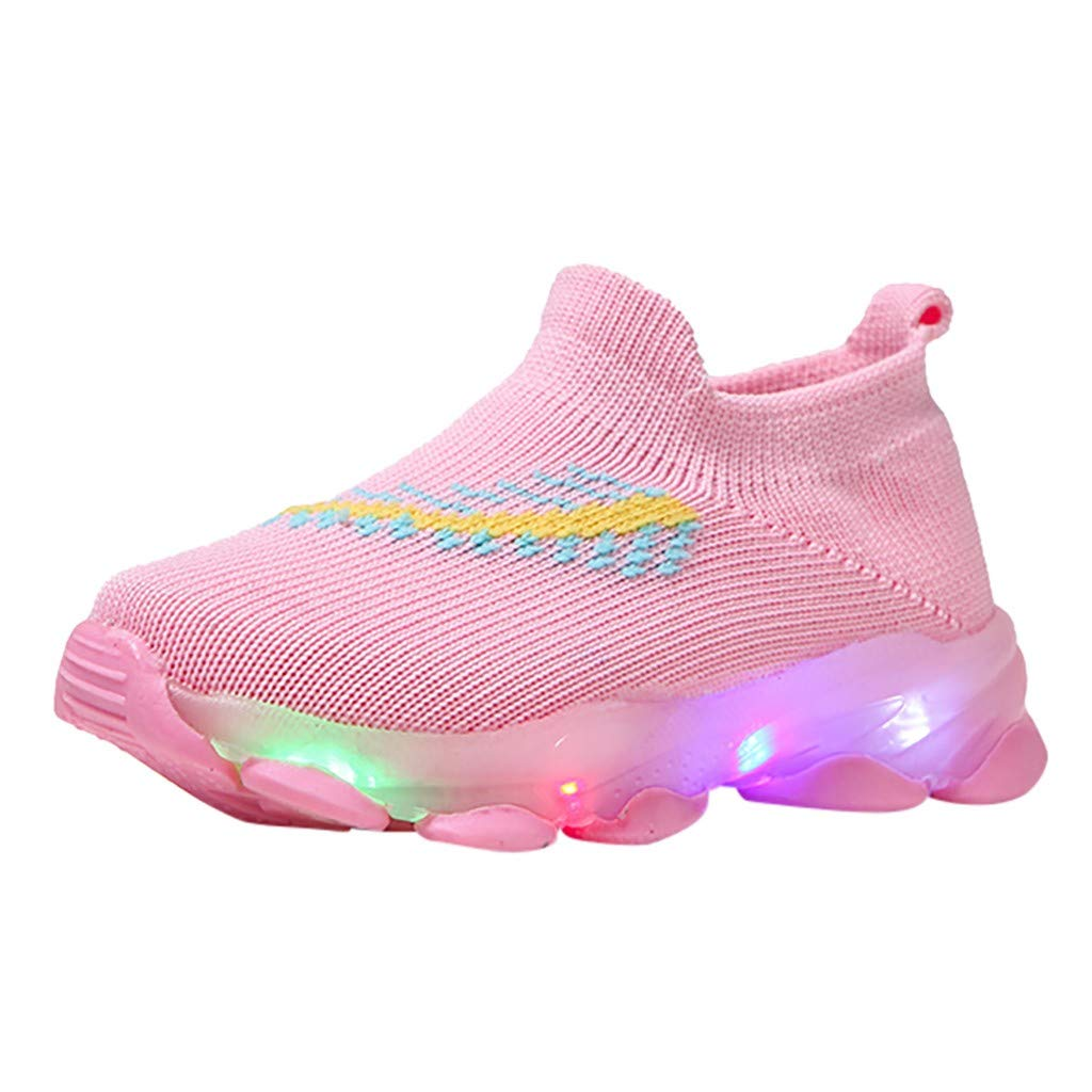 VEKDONE Little Kids Boys Girls LED Light Up Shoes Knit Breathable Running Flashing Sneakers Lightweight Walking Shoes(Pink,5-5.5Years by VEKDONE Baby Shoes