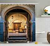 Moroccan Shower Curtain by Ambesonne, Typical Moroccan Door to Old Medina Mediterranean Historical Arch Entrance Photo, Fabric Bathroom Decor Set with Hooks, 70 Inches, Blue Beige