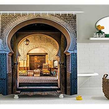 Ambesonne Moroccan Shower Curtain Typical Door To Old Medina Mediterranean Historical Arch Entrance Photo Fabric Bathroom Decor Set With Hooks