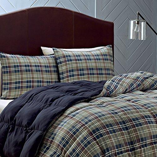 Eddie Bauer Rugged Plaid Comforter Set, Full/Queen, Dune (Plaid Fleece Comforter)