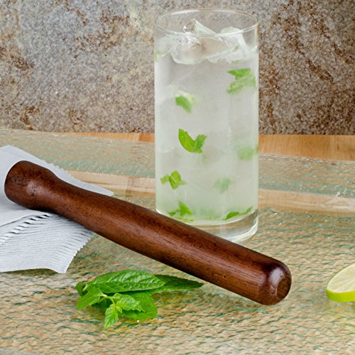 (Set of 12) Wooden Muddler Bar Tool by Tezzorio, 8-Inch Hardwood Mojito Muddler with Flat Head, Commercial Grade Cocktail Drink Muddlers & Bar Accessories by Tezzorio Bar Supplies (Image #3)