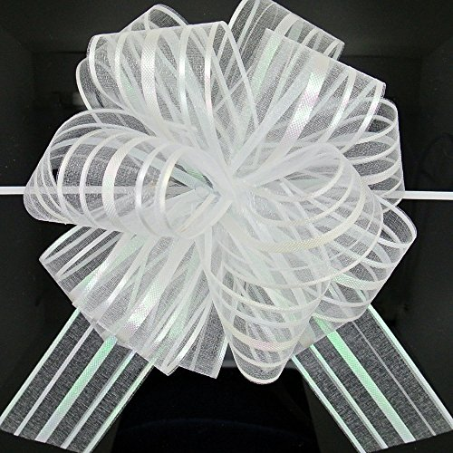 FQTANJU Pull Bow, Large, Organza, 6 Inches, 5 Pieces (White)