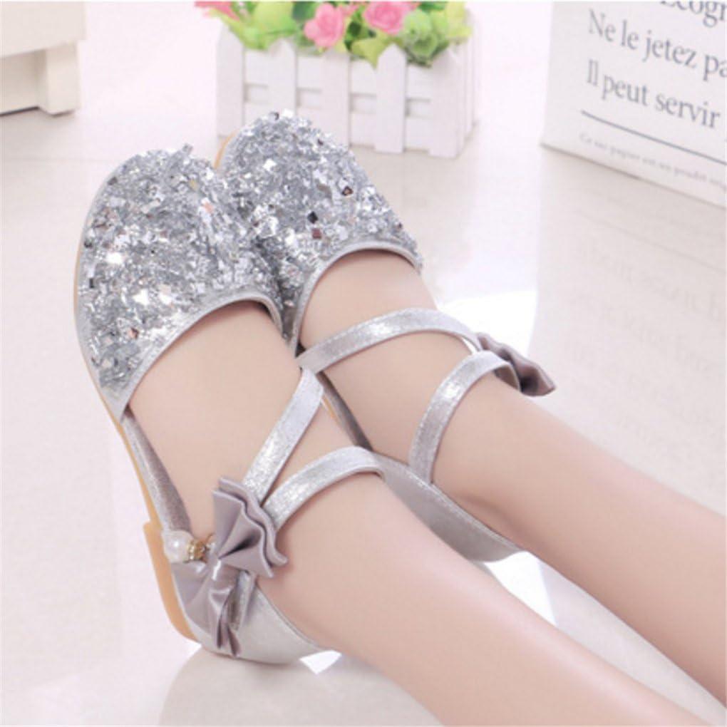 lakiolins Toddler Girls Summer Closed Toe Bling Sandals Princess Flat Shoes with Bowknot
