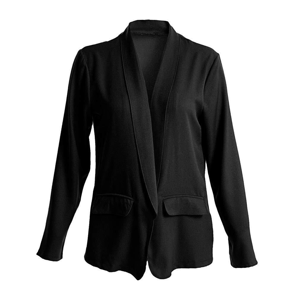 ZzZz Manteau Femme Hiver VêTements Femme Automne Manteau à Manches Longues Blazer Cardigan Veste décontractée aux Femmes Solide Ouvrir Devant Avant Manche Longue Noir