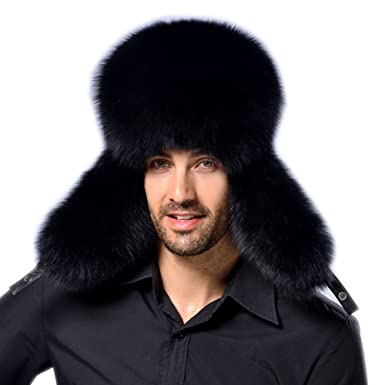 3a1c1531223 Modelshow Faux Fur Hat Fashion Cossack Russian Style Hat Thick Warm Round  Hat with Ear-Protection for Male (Black) at Amazon Men s Clothing store