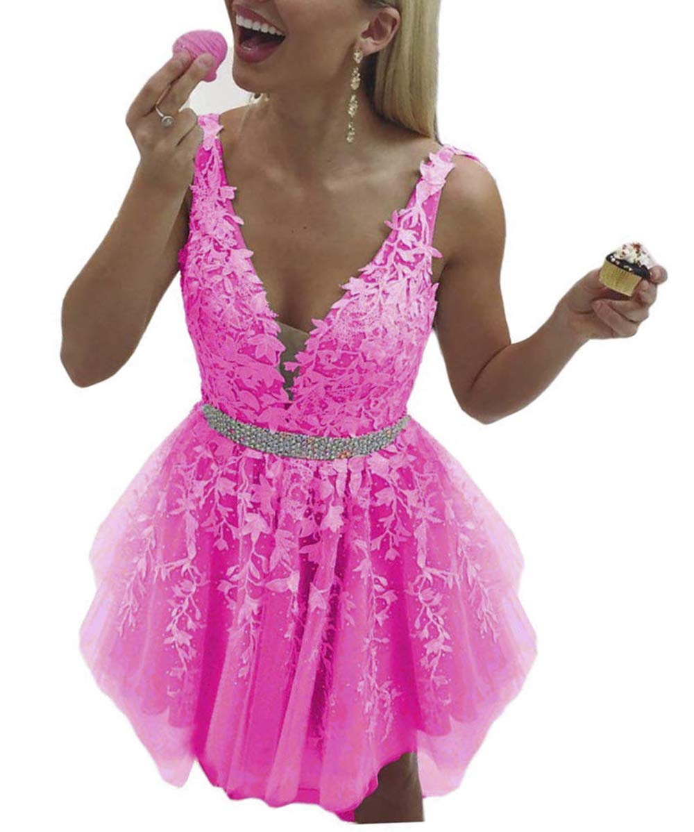 Neck Chiffon Prom Party Dress Cocktail Gown for Womens C023 Cute Short Homecoming Dress Crystal Beaded V