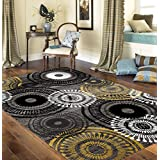 "Rugshop Contemporary Circles Area Rug, 5' 3"" x 7' 3"", Yellow/Gray"