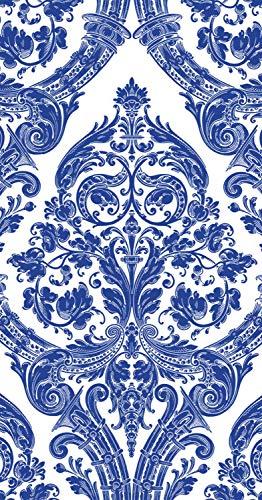 Ideal Home Range 32 Count 3-Ply Paper Guest Towel Dinner Buffet Napkins, Damask White Blue - Guest Napkins Blue