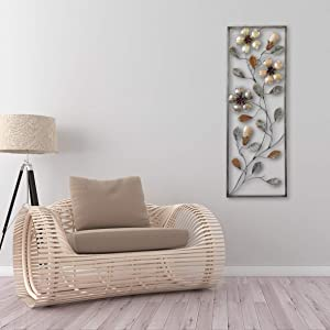 All American Collection New Flower and Leaves Aluminum/Metal Wall Decor with Frame 12