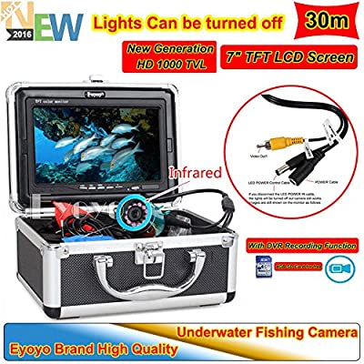 """Eyoyo 30M 7"""" HD 800*480p Monitor 1000TVL Infrared Underwater Camera Ice/Sea Fishing Fish Finder With DVR Recording + 4GB SD Card + Lights Control + Keychain"""