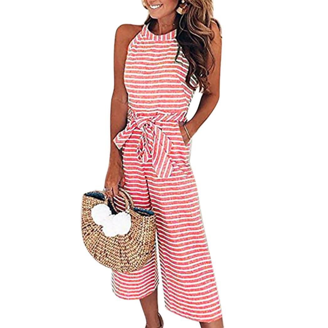 db4762991b7 Amazon.com  NEWONESUN Women Sleeveless Striped Jumpsuit Casual Clubwear Wide  Leg Pants Outfit  Clothing