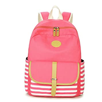 473bb3bec1 Winnerbag College Striped Women Travel Backpack Daily Book Bags Preppy School  Bag For Teenagers Girl Fringe Back Pack pink  Amazon.co.uk  Luggage