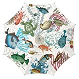 Michel Design Women Rain 40 inches Diameter Flower Automatic Open Cane Umbrella (Sea Life)