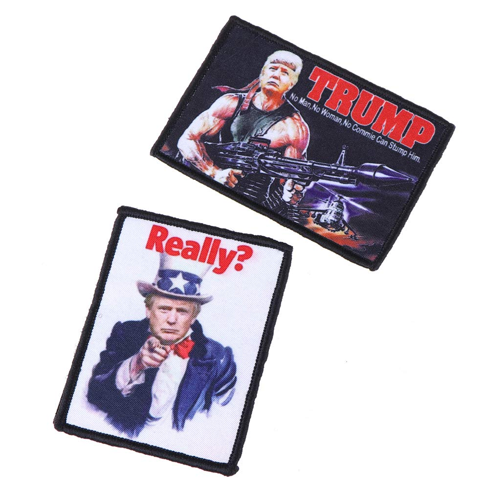 WayJaneDTP Full Embroidery Trump Patch Attach Armband Applique Shoulder Sewing Badge Fabric