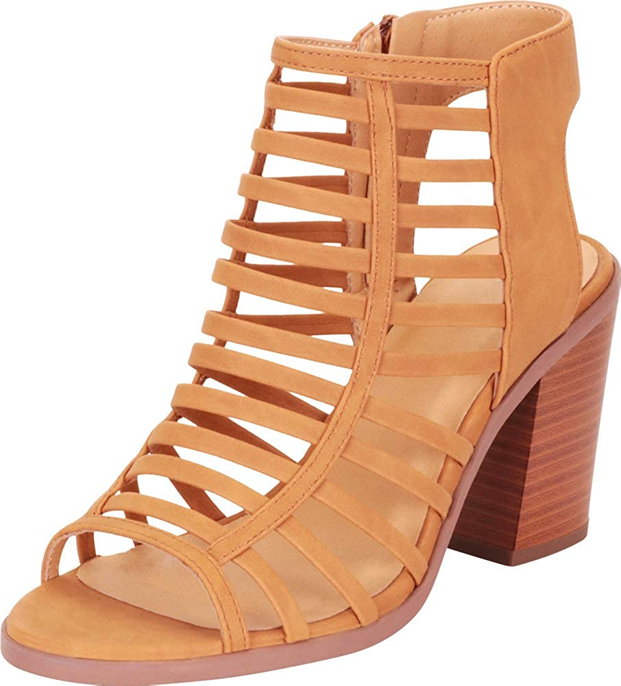 Tan Nbpu Cambridge Select Women's Open Toe Caged Cutout Strappy Chunky Stacked Block Heel Ankle Bootie