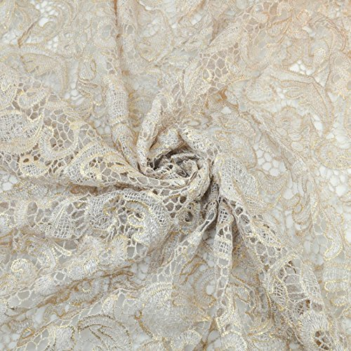 Venice Embroidered Ivory with Gold Foil Lace Fabric for Wedding Lace Bridal Elegant Dress Fabric by the Yard (1 yard)
