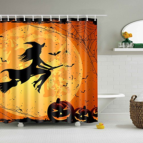 Adarl Happy Halloween Shower Curtain Waterproof Fabric Bath Curtains,Set of 12 Rings/66x72inch,for Bathroom Decor(Halloween-4)]()