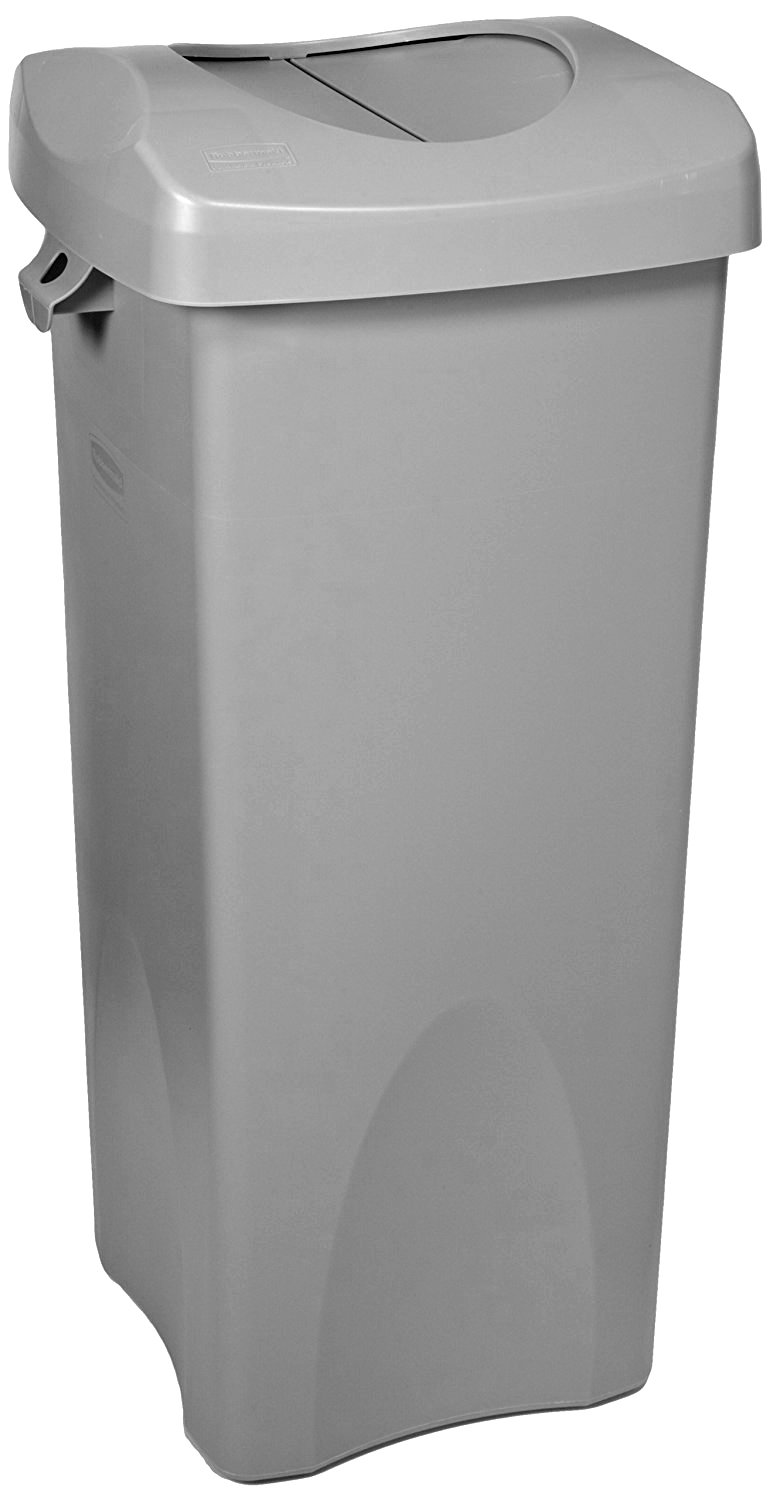 Rubbermaid Commercial Untouchable Trash Can with Swing Lid Combo, 23-Gallon, Rectangular, Gray, 2001584