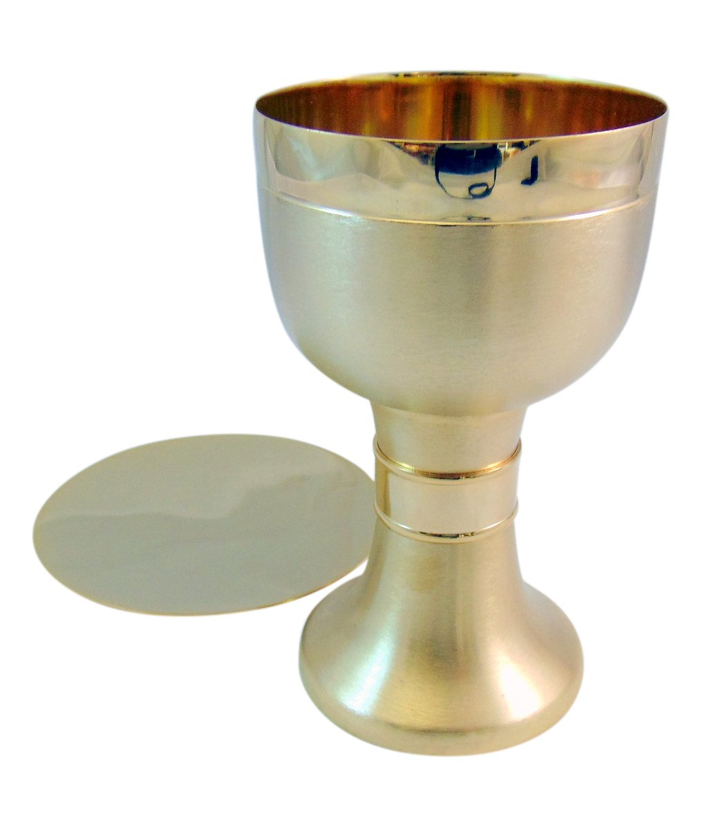 Gold Tone Chalice with Paten
