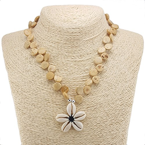 BlueRica Cowrie Shells Flower Pendant on Coconut Wood Disk Beaded Necklace - Jewellery Coconut Shell