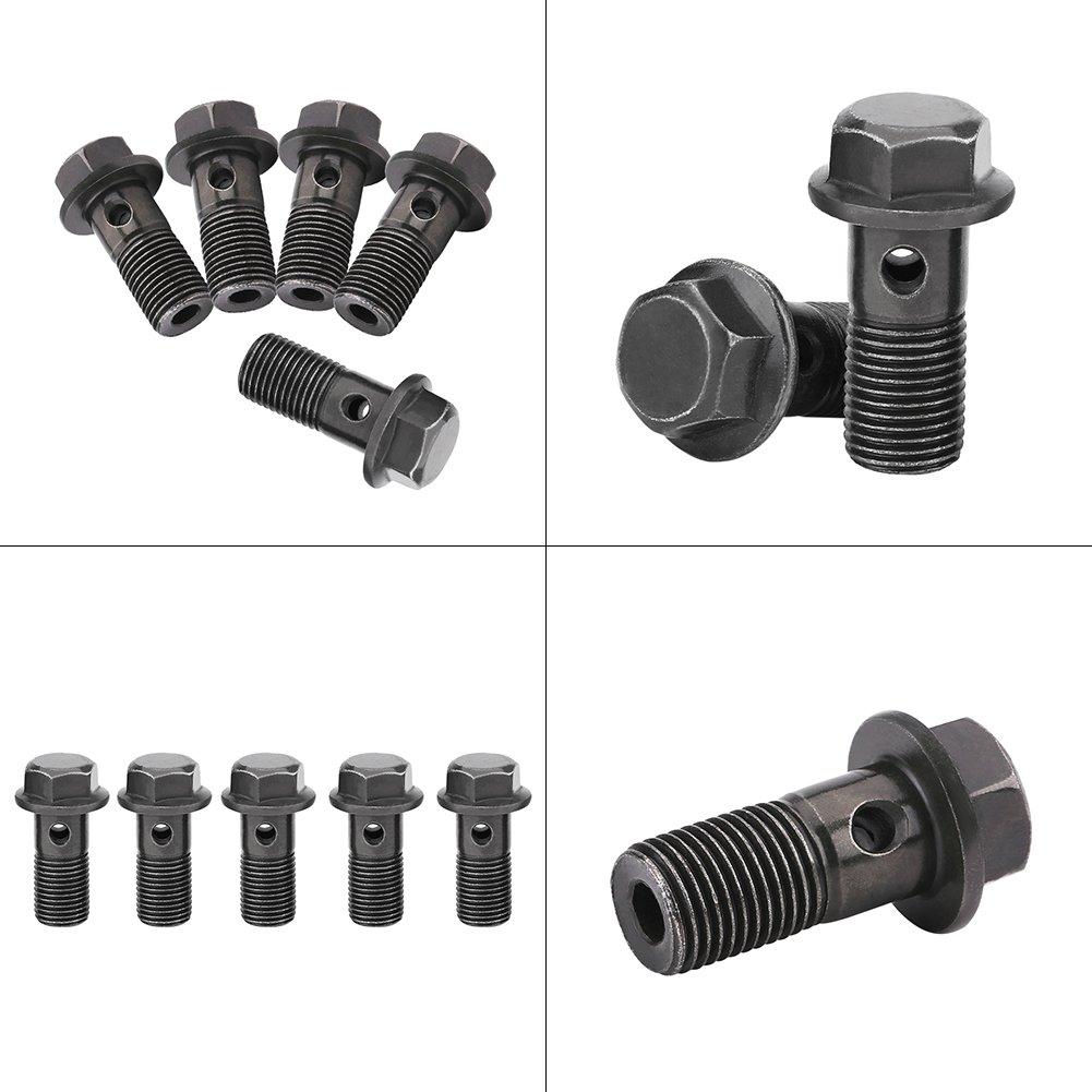 5 Pcs Motorcycle Brake Banjo Bolts M10X1.0mm Banjo Bolts And Fittings,Iron Banjo Bolt Gasket Sealing Washer Kit for Brake Caliper Master Cylinder