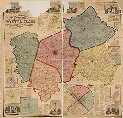 Map Poster - Topographical map of the counties of Bourbon Fayette Clark Jessamine and Woodford Kentucky from actual surveys / 24 X 23