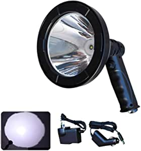 LED Handheld Spotlight Outdoor Lighting Rechargeable T6 Waterproof Small Portable, 5 Inch 12V 2500lm, for Hunting, Camping, Emergency, Automotive, Garage, Patrolling, Hiking, Boating