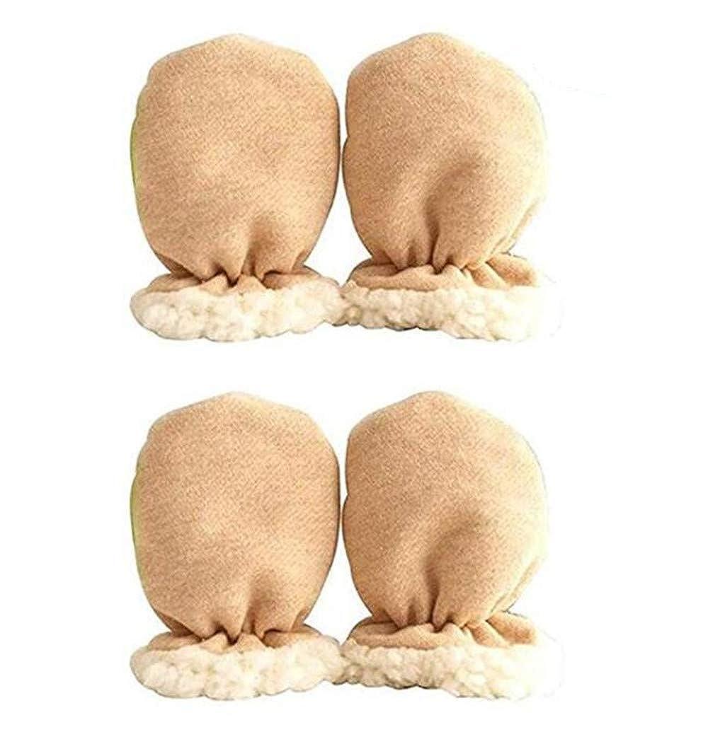 Bhwin 2 Pairs 0-12 Months Baby Boys Girls Winter Warm Gloves Infant Newborn Thicken Sherpa Lined Mittens