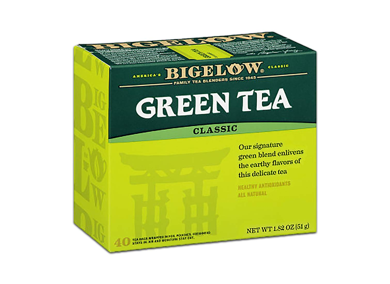 Bigelow Classic Green Tea Bags 40-Count Boxes (Pack of 6), 240 Tea Bags Total Caffeinated Individual Green Tea Bags, for Hot Tea or Iced Tea, Drink Plain or Sweetened with Honey or Sugar by Bigelow