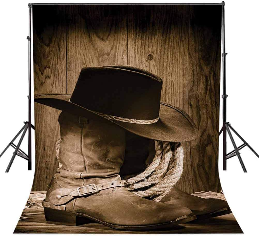 10x15 FT Photography Backdrop Wild West Themed Cowboy Hat and Old Ranching Rope On Wooden Display Rodeo Cowboy Style Background for Child Baby Shower Photo Vinyl Studio Prop Photobooth Photoshoot