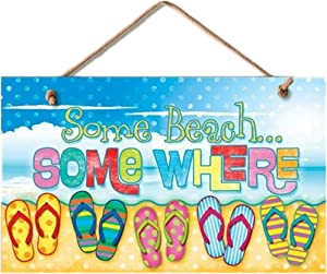 Highland Graphics New Some Beach Somewhere Sign Flip Flops Tropical Wall Decor Coastal Picture Art