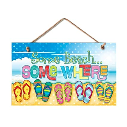 385ff8b50 Amazon.com  New Some Beach Somewhere Sign Flip Flops Tropical Wall Decor  Coastal Picture Art  Home   Kitchen
