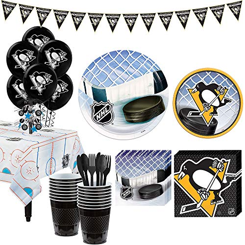 Party City Super Pittsburgh Penguins Party Kit for 16 Guests, Includes Table Cover, Decorations and -
